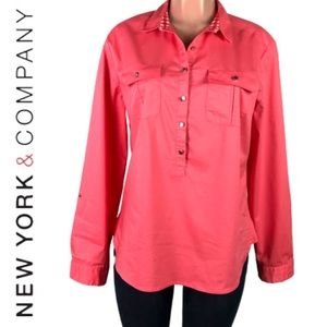 New York & Company pink stretch long sleeve top L